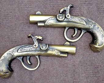 Vintage Cast Metal Brass Pistols Wall Hanging Decoration Made in Japan
