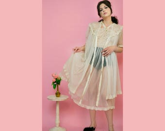 vintage 1950s 'Amourelle' sheer ivory lace nightgown and peignoir set
