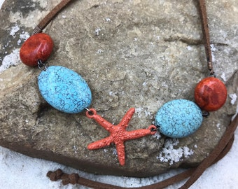 Stones & Starfish-Leather and Stone Necklace