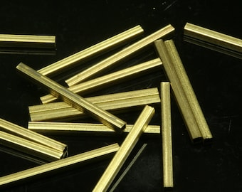 50 Pcs 20 x 2  mm square raw brass tube industrial brass charms,pendant,findings spacer bead ttt02