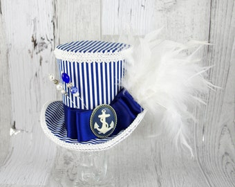 Navy Blue and White Striped Nautical Anchor  Large Mini Top Hat Fascinator, Alice in Wonderland Mad Hatter Tea Party, Derby Hat