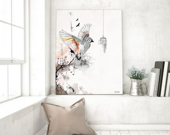 Flying Bird Print, Watercolor Art, Bird Watercolor Print, Watercolor Wall Art, Flying Bird Art, Watercolor Painting, Bird Cage Art, Ink Art
