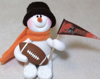 Cleveland Browns football snowman ornament