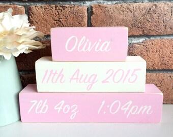 Personalised Hand Painted Wooden Newborn New Baby Girl Name Blocks Shelf Sitter
