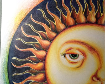 Trippy Sun Colored Pencil Drawing
