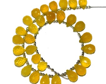 30 Pcs Natural Yellow Chalcedony Faceted Teardrop Briolette Size 8x6-11x7 mm Gemstone Briolette Semiprecious Beads B19