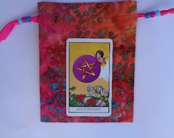 Multi Colored Pink Batik Cotton Tarot, Rune  or Crystal Keeper Bag