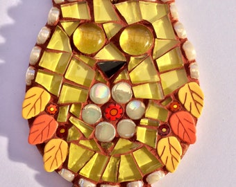 Handmade glass mosaic yellow hanging owl ornament Unique gift idea Home decor Gift for her