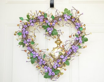 Purple heart shaped wreath Purple roses Wedding heart wreath Spring Wreath Summer Wreath Front door decor Grapevine Heart wreath
