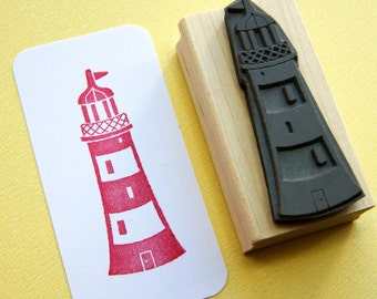 Lighthouse Rubber Stamp - Nautical Stamper - Beach Stamp - Beach Wedding - Nautical Wedding - Card Making - Scrapbooking - Seaside