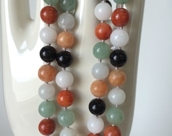 Untreated Multicolor Jade Bead Necklace with 14kt Clasp