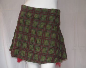 Red and green Plaid wool skirt
