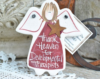 Developmental Therapist Gift Salt Dough Angel Ornament