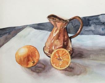 Still life, still life watercolor, still life painting, realism, still life oranges, Watercolor still life