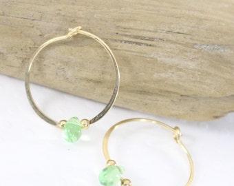 Gold filled hoop earrings Glass teardrop bead endless round handmade light green