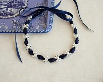 Navy blue bridesmaid choker pearl Dark blue necklace Formal wedding Bridal party Cocktail necklace Blue evening choker Simple necklace