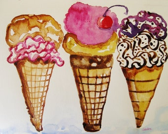 Ice cream cone watercolor painting, original ice cream cone watercolor painting, kitchen art