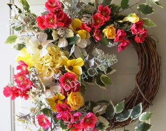 Door Wreath,Summer Hydrangea Wreath Roses Wildflowers Yellow Fuchsia White Large Wreath