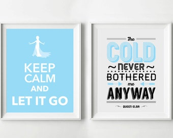 2 x Printable Frozen Poster Let it Go - Queen Elsa - Typography Print, Quote Print, Movie Poster, Printable Poster