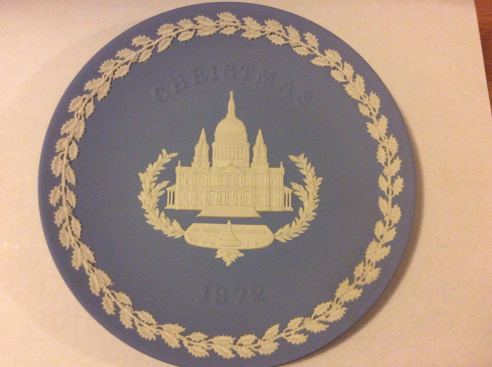 Wedgwood Blue and White Jasper Christmas Plate 1972 Saint