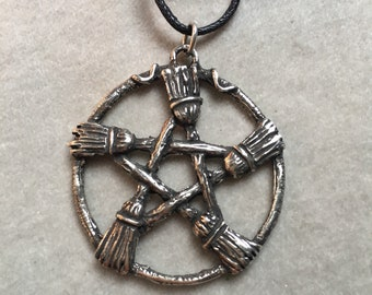 VILLAGE WITCH Pentacle Pendant fine pewter hearth witchcraft broomstick hedgerider hedgewitch