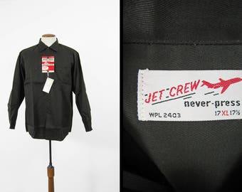 Vintage NOS Work Shirt Grey Twill Jet Crew Deadstock Never Press Workwear - Size XL