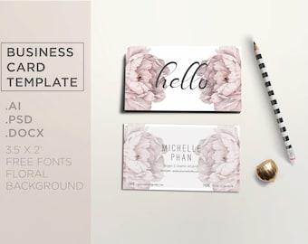 Floral business card template / Elegant business card design ( beige pastel floral theme )