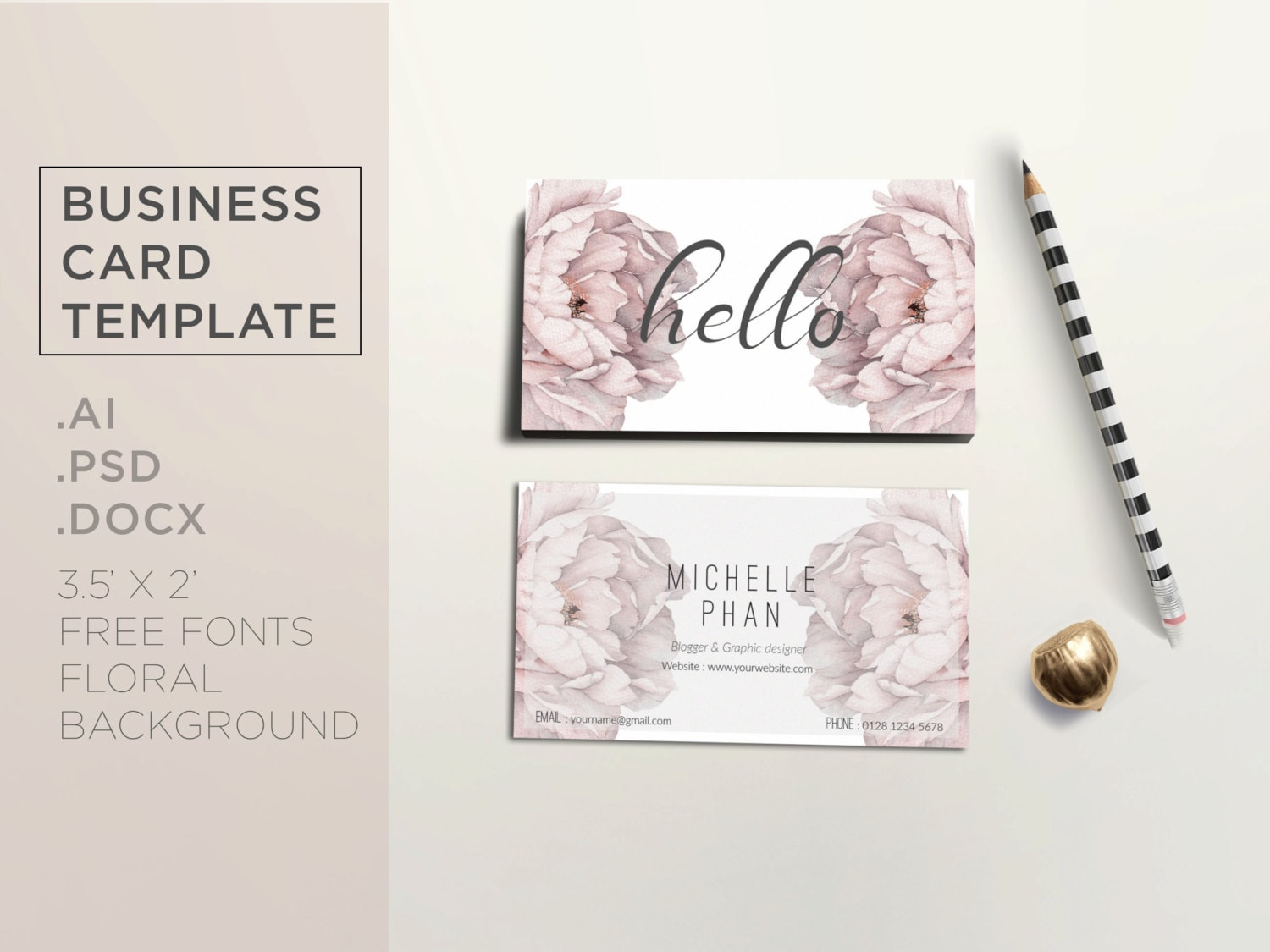 Floral business card template / Elegant business card design