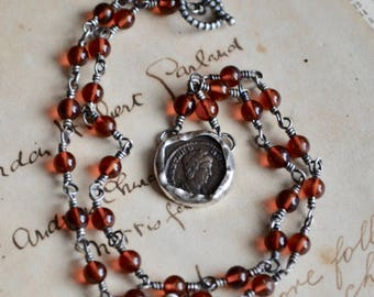 Ancient Roman Coin Theodora Amber Necklace