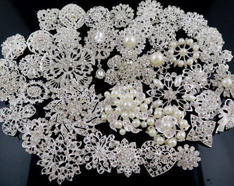 10% off!! Wholesale 40 pcs DIY Brooch Bouquet Supplies Mixed Pack, Wedding  Brooches with Clear Stones and Pearls,Cake Craft Supply  #2