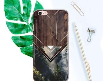 Wood iPhone 6s Case Clear 6 iPhone Case Forest iPhone 6s Plus Case iPhone 6 Plus Case iPhone 7 Case iPhone 7 Plus Case Geometric Case CF1004