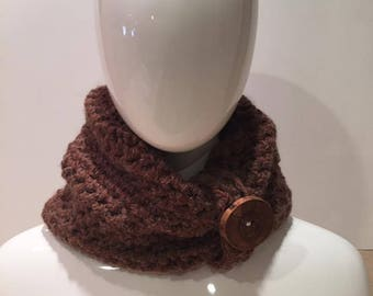 Crochet Chunky Cowl with Wooden Button PLUS matching wrist warmers in brown