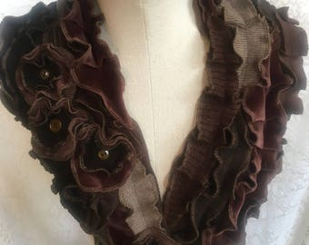Upcycled Brown Scarf, Ruffles, Boho Arty Showpiece, Cotton and Wool, Recycled Sweaters, Shades of Brown, Flowerettes, #SCF300