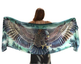 Eagle Shawl Wrap, Green Scarf, Birds Scarf, Silk Scarf, Pine Forest Eagle Scarf, Cotton Scarf, Women Shawl, Wings Wrap, Feather Scarf