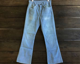 Vintage 70s Blue Corduroy Bell-Bottom Pants