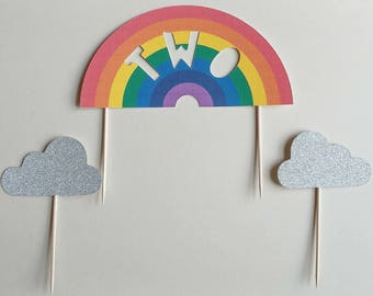 Personalised cake topper set - Rainbow Bright, Pastel or Monochrome