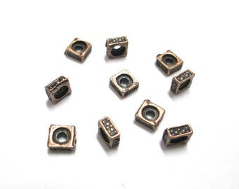 10 metal square spacer beads 5mm copper color