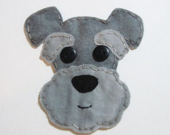 Schnauzer Applique, Schnauzer Patch, Dog Applique, Dog, Schnauzer Dog Embellishment, Fabric Applique, Made To Order
