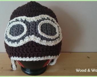 Aviator hat, crochet hat, baby shower, baby photography prop