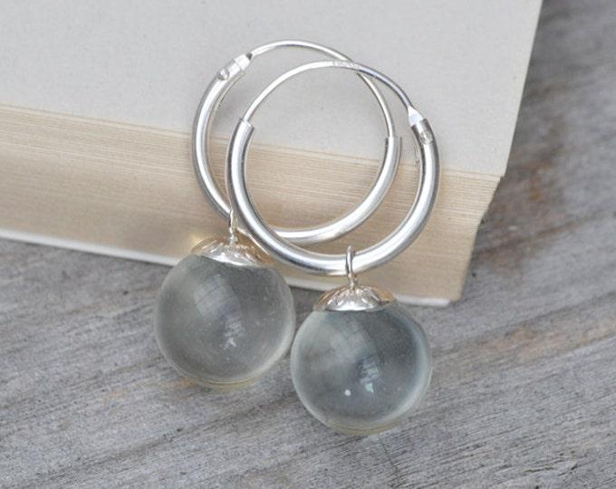 Glass Ball Dangle Earrings With Sterling Silver Hoops, Bridal Earrings, Handmade In England