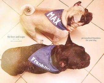 personalized denim dog bandana!