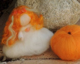 Forest Elf Bendy with Orange Treasure- Waldorf Inspired Needle Felted Soft Sculpture -Elsa Beskow Inspired