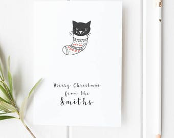 Personalized Christmas Card Cat Christmas Card Custom Christmas Card with name Cute Christmas Card Sweet Christmas Holiday Card