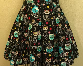 Dia De Los Muertos Halloween Cats Printed Adult High Waisted Skater Skirts