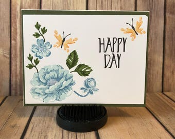 Happy Day - Blue Flowers with Butterflies - Handmade Card