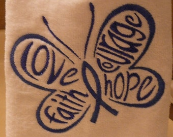Colon Cancer Fingertip Towel - Love, Faith, Courage, Hope Butterfly