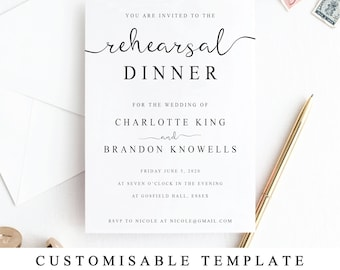 Dinner invitation etsy printable rehearsal dinner invitation template the night before invitation rehearsal diner invite card altavistaventures Image collections