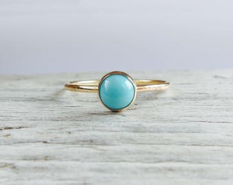 Turquoise ring. Natural 5 mm stone, gold ring band, gemstone ring, stacking ring, silver ring.