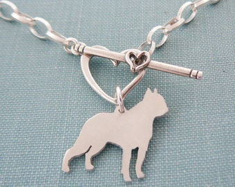 Boston Terrier Chain Bracelet, Sterling Silver Personalize Pendant, Breed Silhouette Charm, Rescue Shelter, Mothers Day Gift