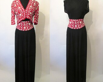 """Glamorous 1940's Old Hollywood Gown Party Dress with Matching Cropped Jacket by """"Saks Fifth Ave."""" Starlet Pinup Joan Crawford Size-Medium"""